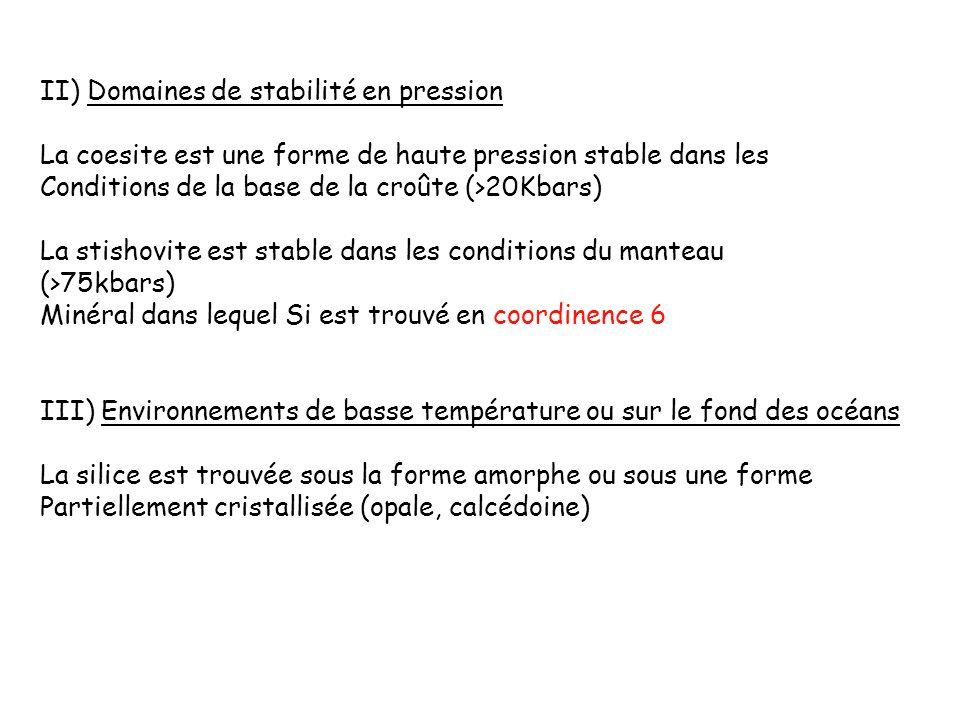 II) Domaines de stabilité en pression La coesite est une forme de haute pression stable dans les Conditions de la base de la croûte (>20Kbars) La stis