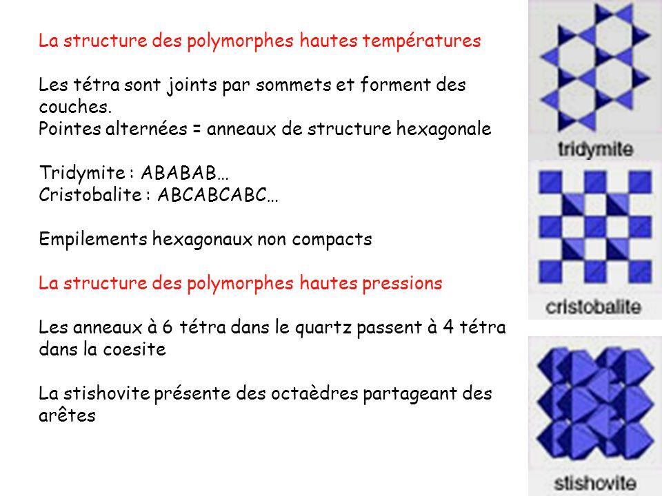 La structure des polymorphes hautes températures Les tétra sont joints par sommets et forment des couches. Pointes alternées = anneaux de structure he