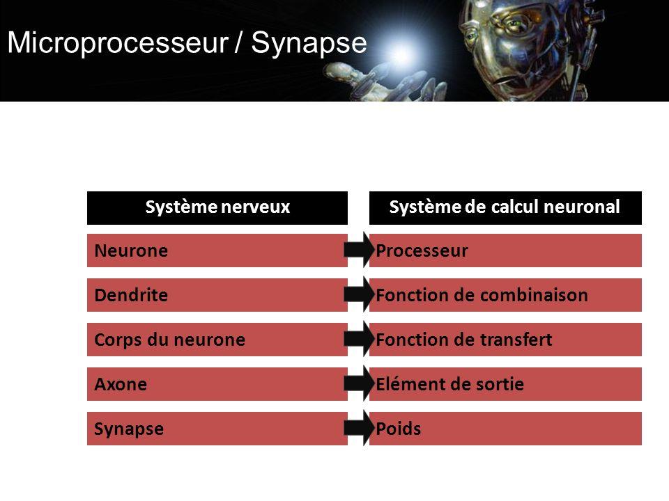 Microprocesseur / Synapse Système nerveuxSystème de calcul neuronal NeuroneProcesseur Dendrite Corps du neurone Axone Synapse Fonction de combinaison Fonction de transfert Elément de sortie Poids
