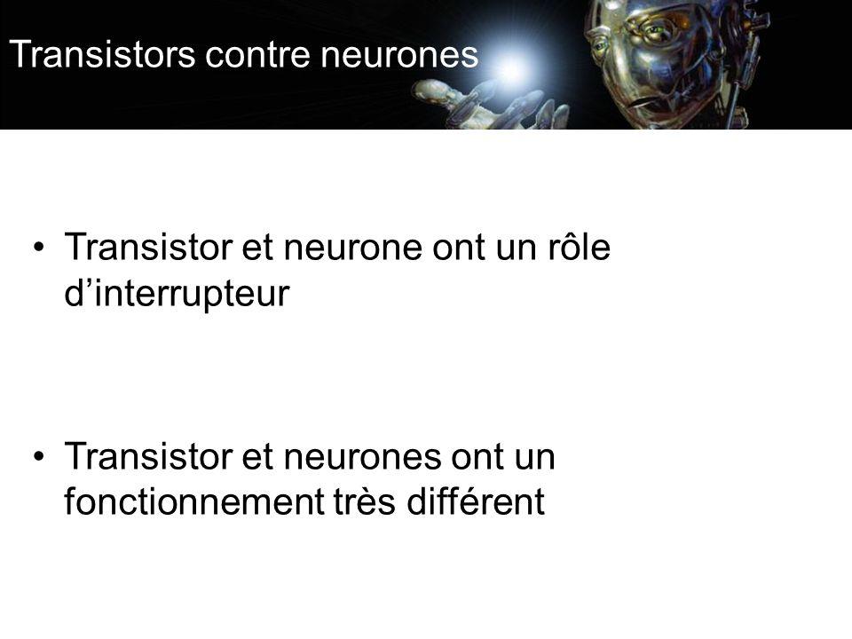 Transistors contre neurones Transistor et neurone ont un rôle dinterrupteur Transistor et neurones ont un fonctionnement très différent
