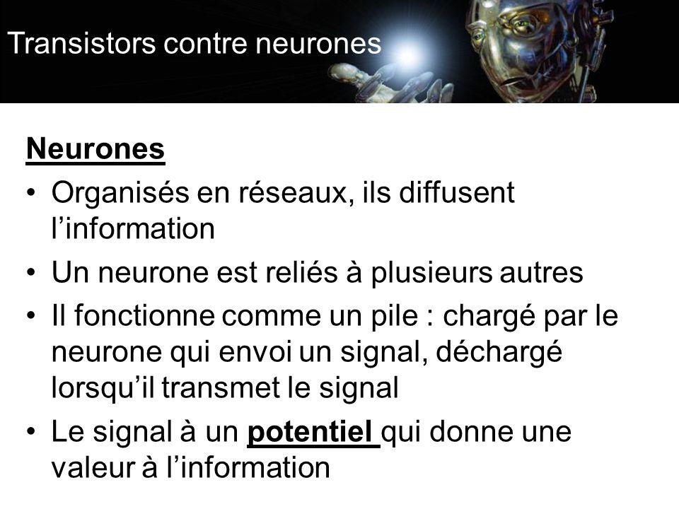 Transistors contre neurones Neurones Organisés en réseaux, ils diffusent linformation Un neurone est reliés à plusieurs autres Il fonctionne comme un pile : chargé par le neurone qui envoi un signal, déchargé lorsquil transmet le signal Le signal à un potentiel qui donne une valeur à linformation