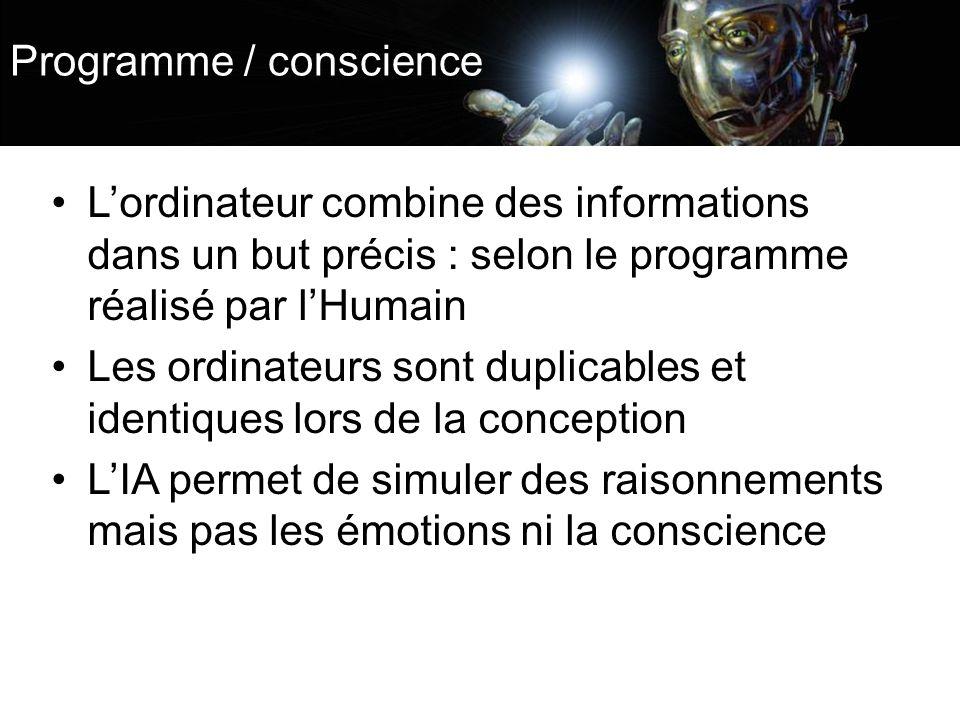 Programme / conscience Lordinateur combine des informations dans un but précis : selon le programme réalisé par lHumain Les ordinateurs sont duplicables et identiques lors de la conception LIA permet de simuler des raisonnements mais pas les émotions ni la conscience