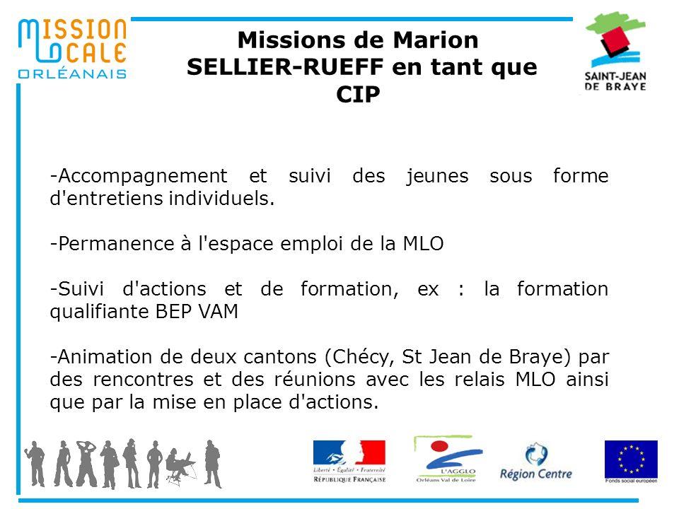 Missions de Marion SELLIER-RUEFF en tant que CIP -Accompagnement et suivi des jeunes sous forme d'entretiens individuels. -Permanence à l'espace emplo