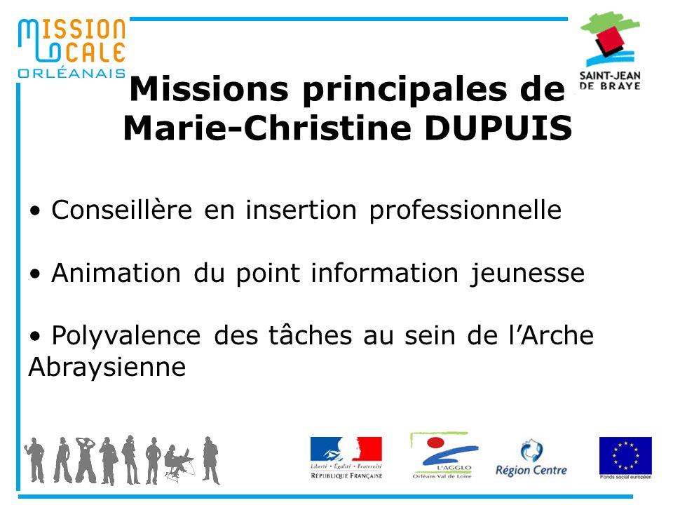 Missions principales de Marie-Christine DUPUIS Conseillère en insertion professionnelle Animation du point information jeunesse Polyvalence des tâches