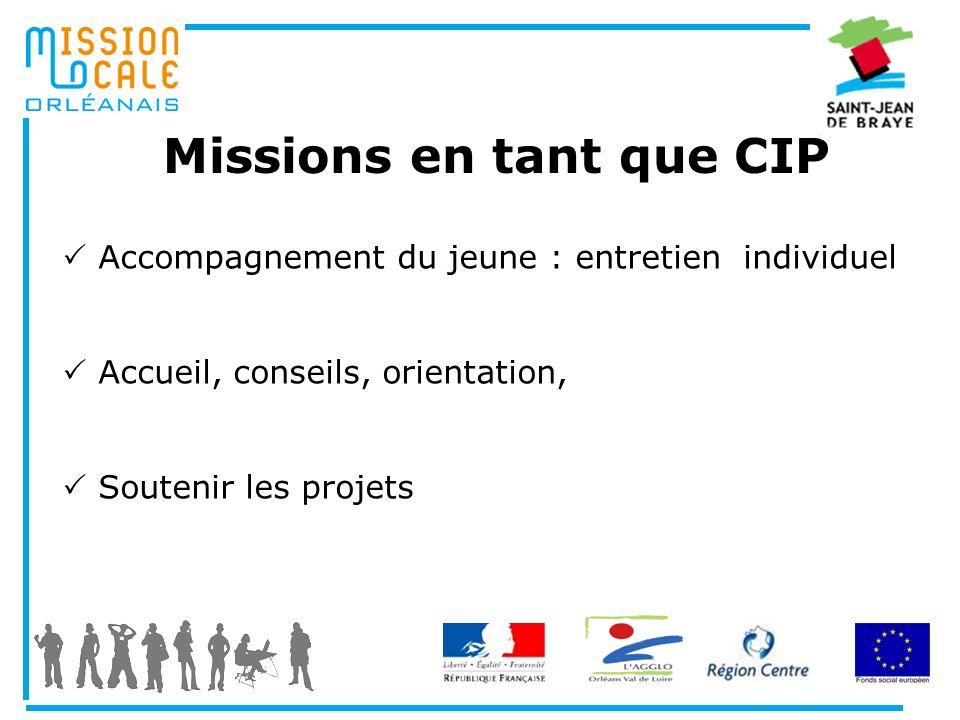 Missions en tant que CIP Accompagnement du jeune : entretien individuel Accueil, conseils, orientation, Soutenir les projets