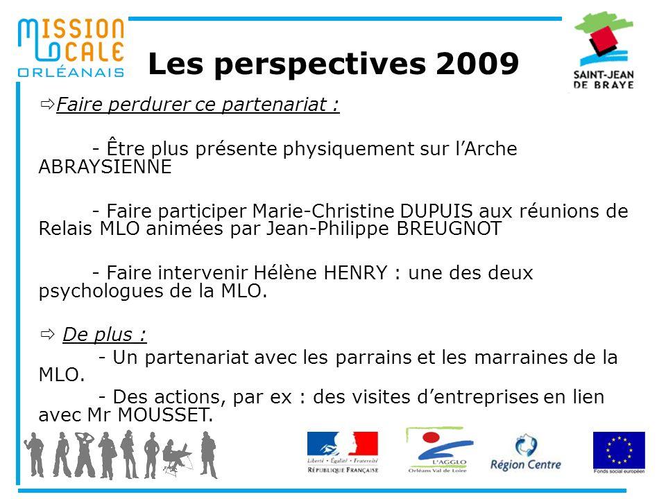 Les perspectives 2009 Faire perdurer ce partenariat : - Être plus présente physiquement sur lArche ABRAYSIENNE - Faire participer Marie-Christine DUPU
