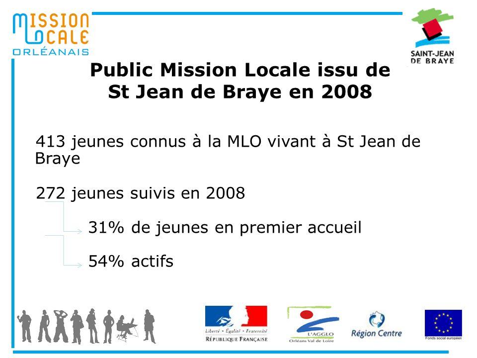 Public Mission Locale issu de St Jean de Braye en 2008 413 jeunes connus à la MLO vivant à St Jean de Braye 272 jeunes suivis en 2008 31% de jeunes en