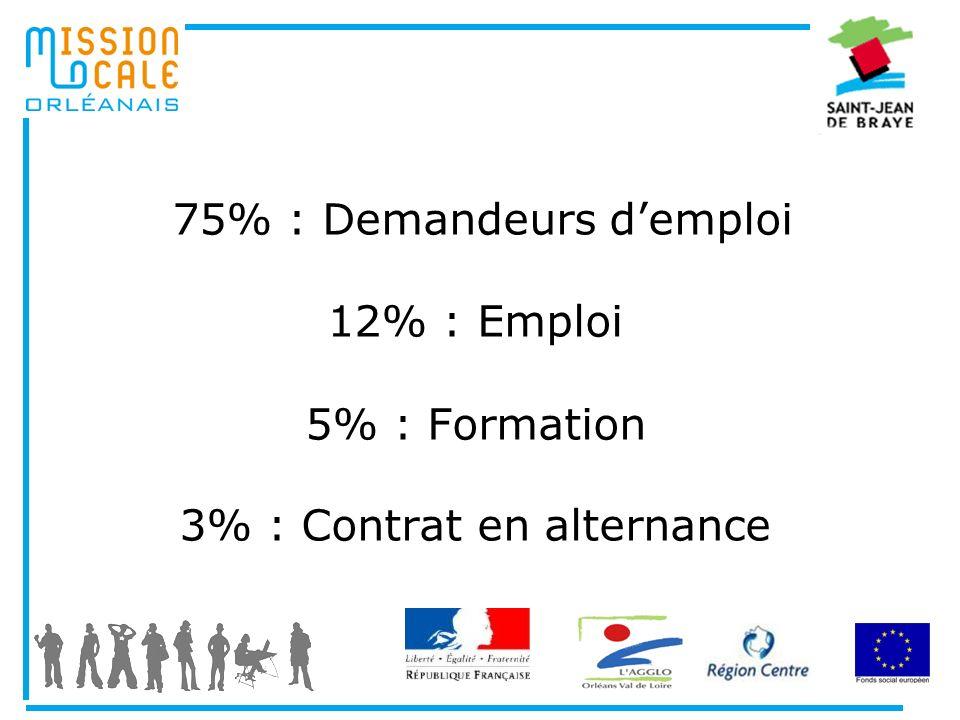 75% : Demandeurs demploi 12% : Emploi 5% : Formation 3% : Contrat en alternance