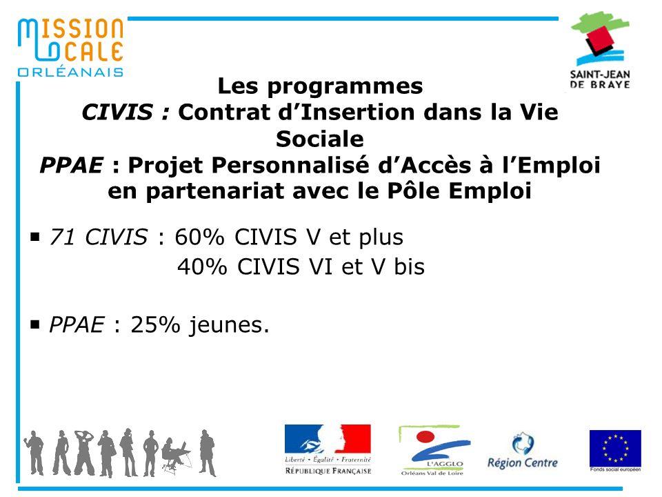Les programmes CIVIS : Contrat dInsertion dans la Vie Sociale PPAE : Projet Personnalisé dAccès à lEmploi en partenariat avec le Pôle Emploi 71 CIVIS
