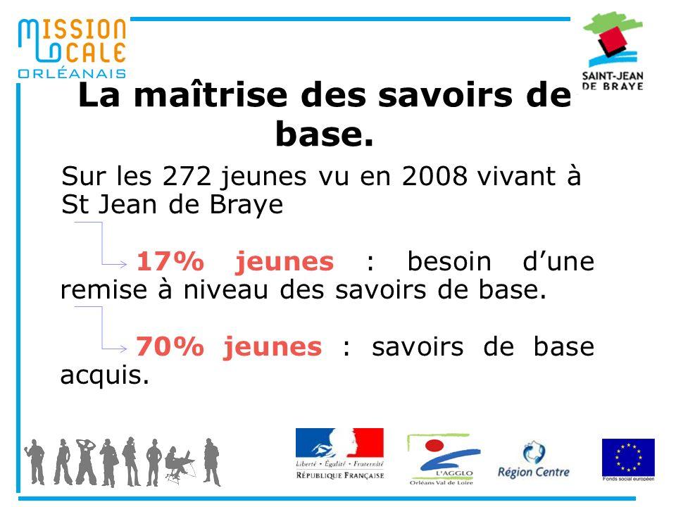 La maîtrise des savoirs de base. Sur les 272 jeunes vu en 2008 vivant à St Jean de Braye 17% jeunes : besoin dune remise à niveau des savoirs de base.