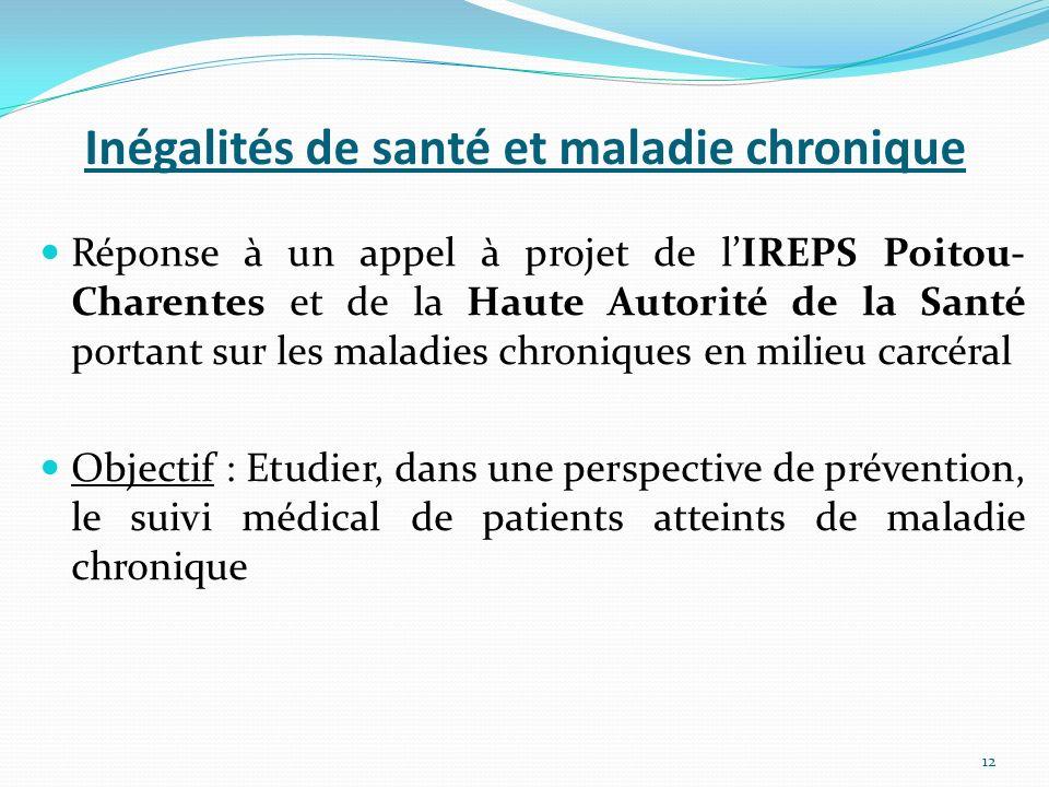 Inégalités de santé et maladie chronique Réponse à un appel à projet de lIREPS Poitou- Charentes et de la Haute Autorité de la Santé portant sur les m