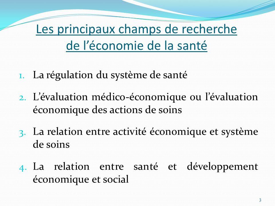 Les principaux champs de recherche de léconomie de la santé 1. La régulation du système de santé 2. Lévaluation médico-économique ou lévaluation écono