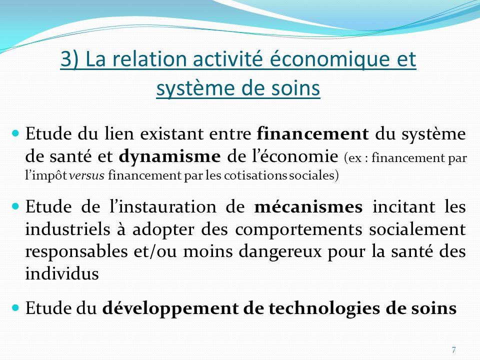 3) La relation activité économique et système de soins Etude du lien existant entre financement du système de santé et dynamisme de léconomie (ex : fi