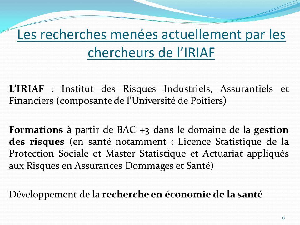 Les recherches menées actuellement par les chercheurs de lIRIAF LIRIAF : Institut des Risques Industriels, Assurantiels et Financiers (composante de l