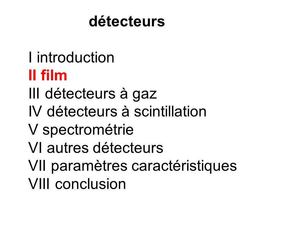 détecteurs I introduction II film III détecteurs à gaz IV détecteurs à scintillation V spectrométrie VI autres détecteurs VII paramètres caractéristiq