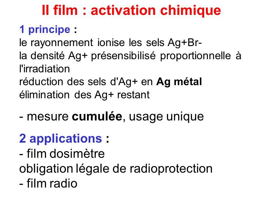 II film : activation chimique 1 principe : le rayonnement ionise les sels Ag+Br- la densité Ag+ présensibilisé proportionnelle à l'irradiation réducti