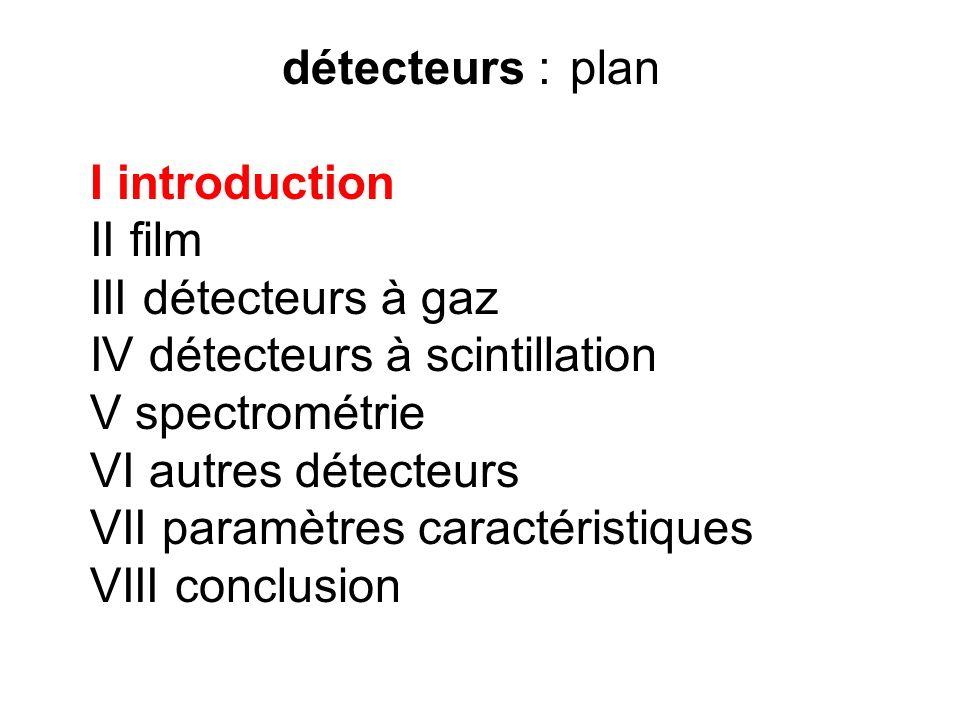 détecteurs :plan I introduction II film III détecteurs à gaz IV détecteurs à scintillation V spectrométrie VI autres détecteurs VII paramètres caracté