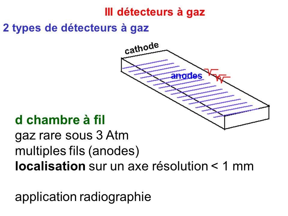 III détecteurs à gaz 2 types de détecteurs à gaz d chambre à fil gaz rare sous 3 Atm multiples fils (anodes) localisation sur un axe résolution < 1 mm