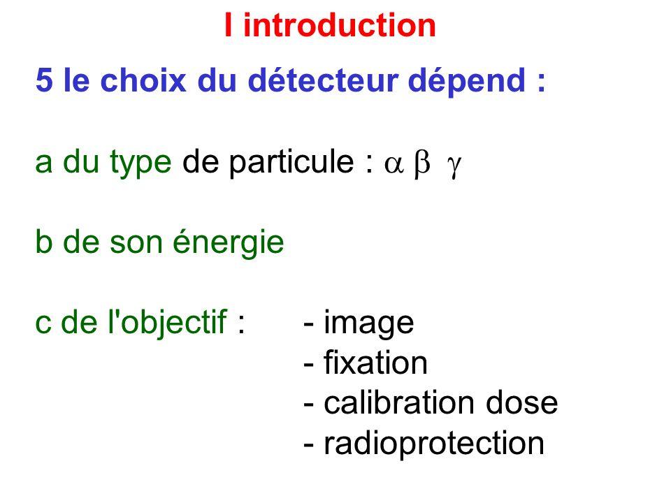 I introduction 5 le choix du détecteur dépend : a du type de particule : b de son énergie c de l objectif : - image - fixation - calibration dose - radioprotection d du paramètre à mesurer : - nombre de particules (total ou taux/sec) - activité volumique - énergie
