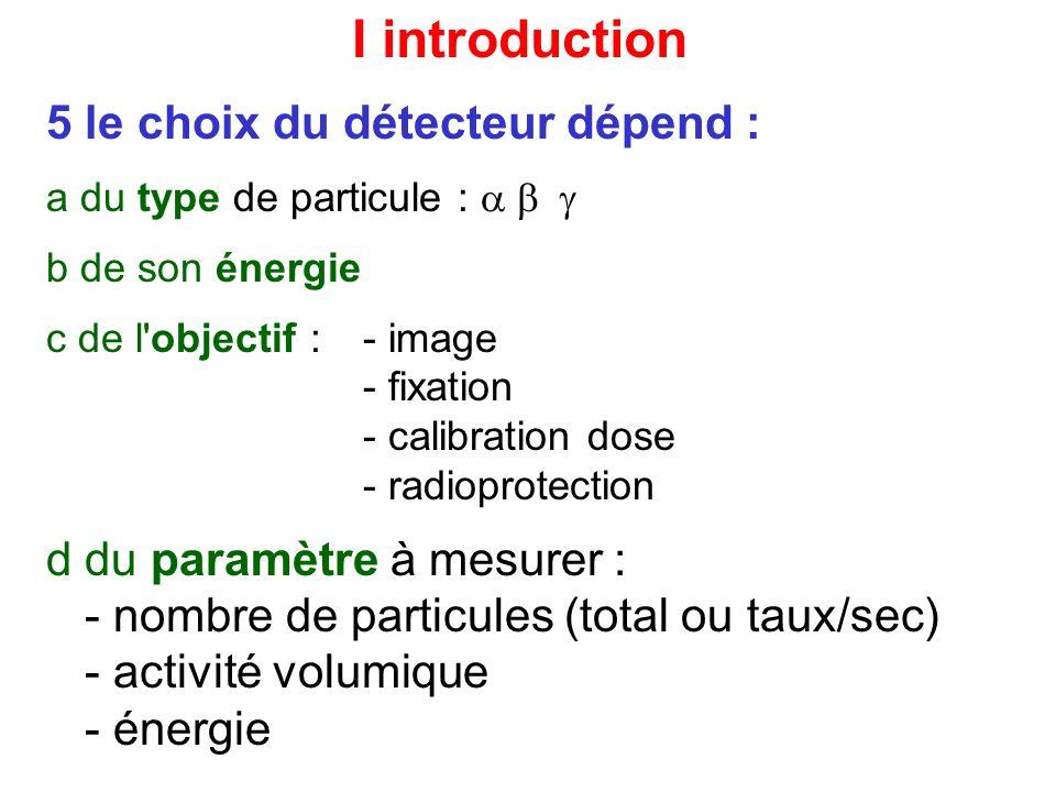 VII paramètres caractéristiques dun détecteur 4 résolution en énergie Ge-Li : très bon INa : bon Cd-Te : médiocre 5 seuil de détection par rapport au bruit de fond : INa : bon Cd-Te : médiocre :