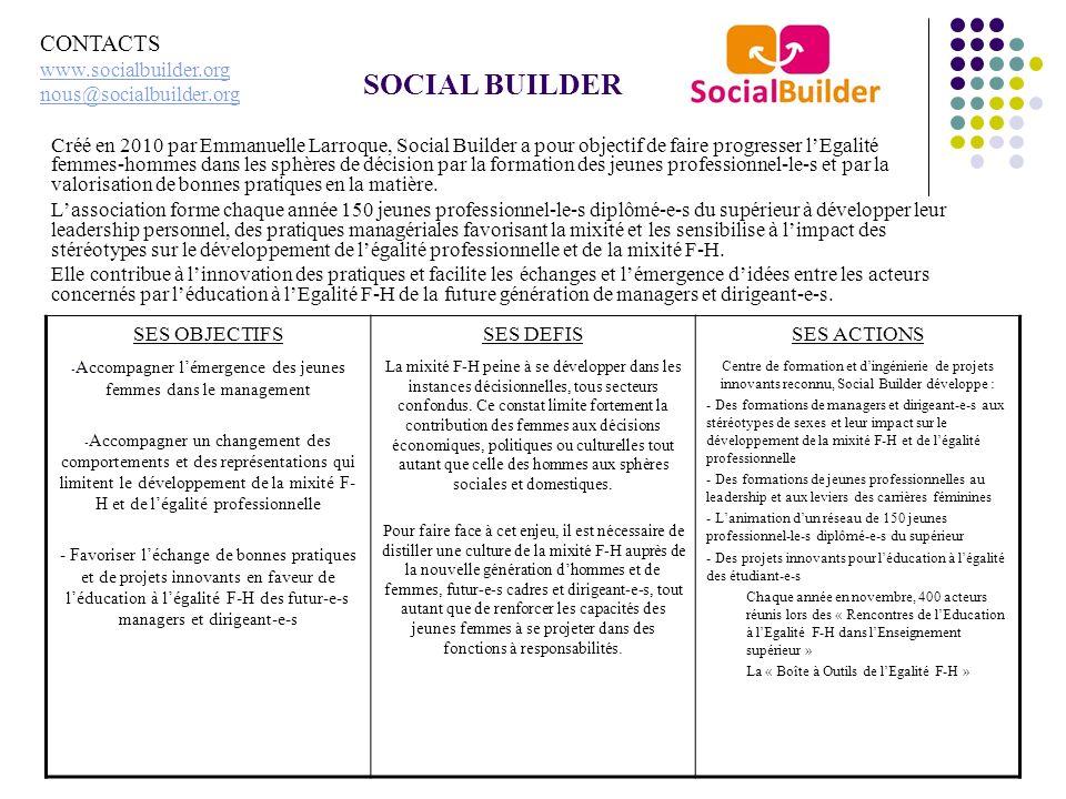 SOCIAL BUILDER Créé en 2010 par Emmanuelle Larroque, Social Builder a pour objectif de faire progresser lEgalité femmes-hommes dans les sphères de déc