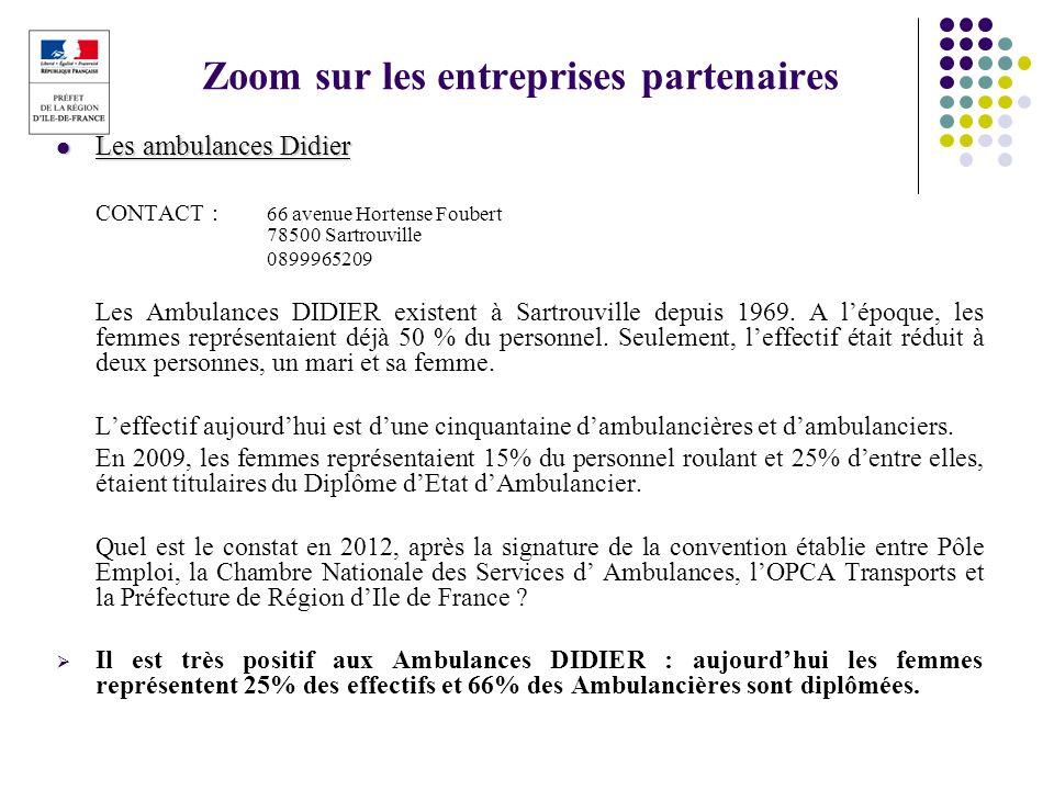 Zoom sur les entreprises partenaires Les ambulances Didier Les ambulances Didier CONTACT : 66 avenue Hortense Foubert 78500 Sartrouville 0899965209 Le