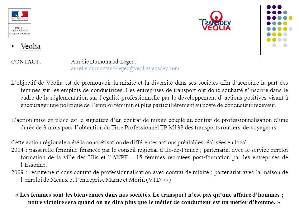 Veolia Veolia CONTACT :Aurélie Dumontaud-Leger : aurelie.dumontaud-leger@veoliatransdev.com aurelie.dumontaud-leger@veoliatransdev.com Lobjectif de Vé