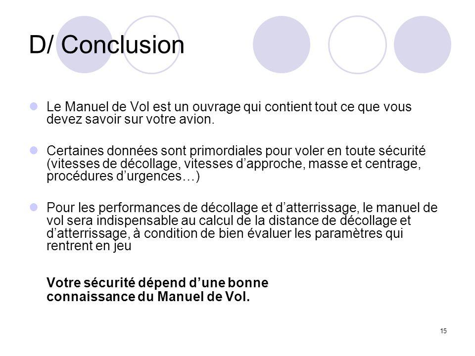 15 D/ Conclusion Le Manuel de Vol est un ouvrage qui contient tout ce que vous devez savoir sur votre avion. Certaines données sont primordiales pour
