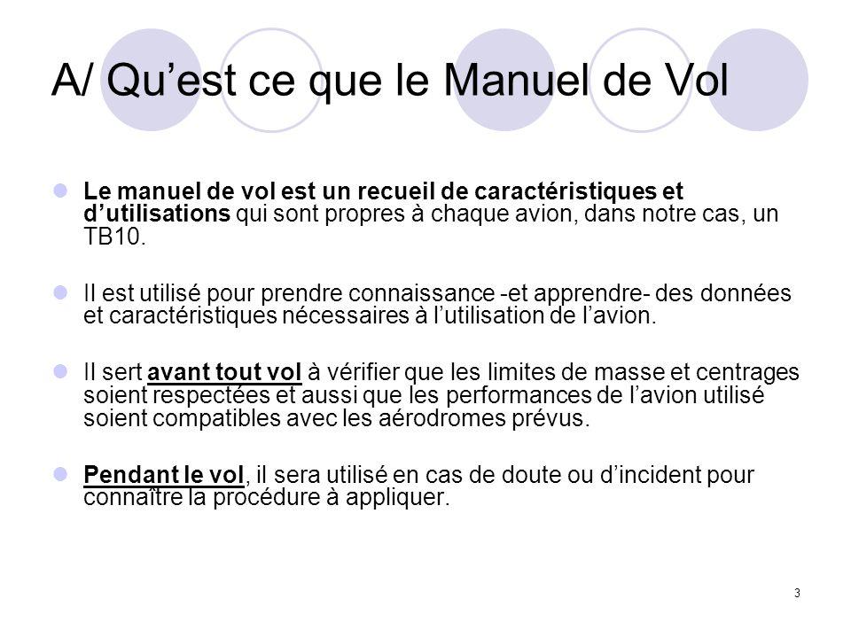 3 A/ Quest ce que le Manuel de Vol Le manuel de vol est un recueil de caractéristiques et dutilisations qui sont propres à chaque avion, dans notre ca