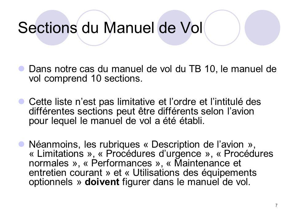 7 Sections du Manuel de Vol Dans notre cas du manuel de vol du TB 10, le manuel de vol comprend 10 sections. Cette liste nest pas limitative et lordre