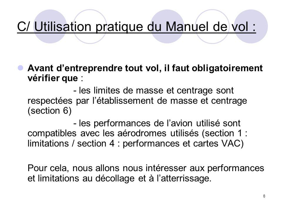 8 C/ Utilisation pratique du Manuel de vol : Avant dentreprendre tout vol, il faut obligatoirement vérifier que : - les limites de masse et centrage s