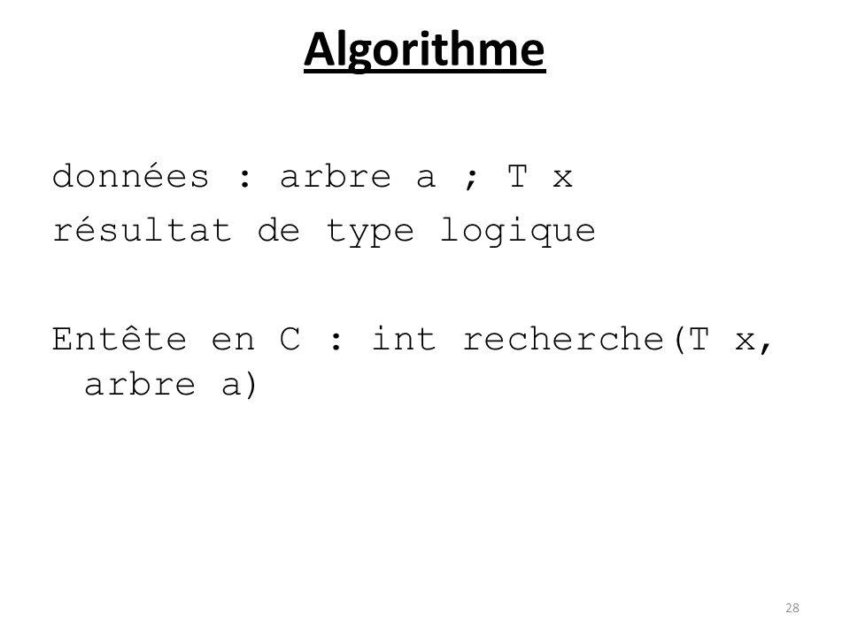 Algorithme données : arbre a ; T x résultat de type logique Entête en C : int recherche(T x, arbre a) 28