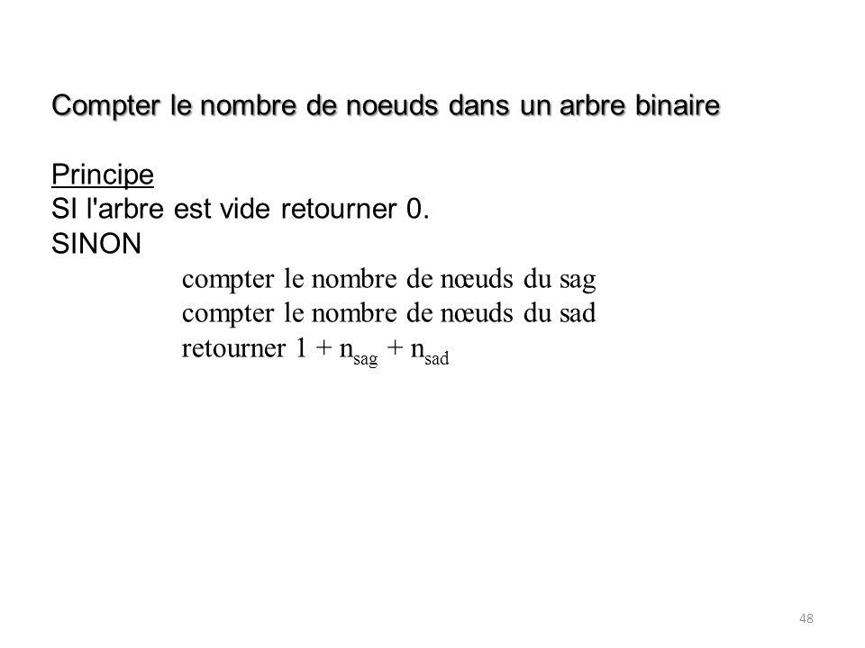 48 Compter le nombre de noeuds dans un arbre binaire Principe SI l'arbre est vide retourner 0. SINON compter le nombre de nœuds du sag compter le nomb
