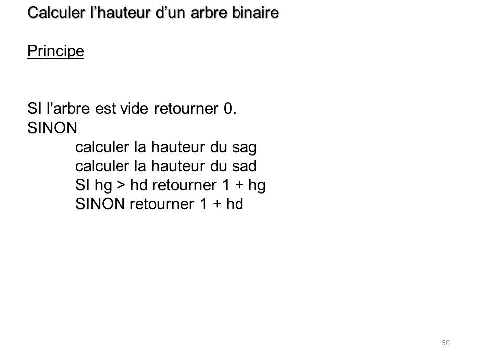 50 Calculer lhauteur dun arbre binaire Principe SI l'arbre est vide retourner 0. SINON calculer la hauteur du sag calculer la hauteur du sad SI hg > h