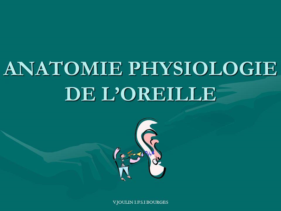 V.JOULIN I.F.S.I BOURGES ANATOMIE PHYSIOLOGIE DE LOREILLE