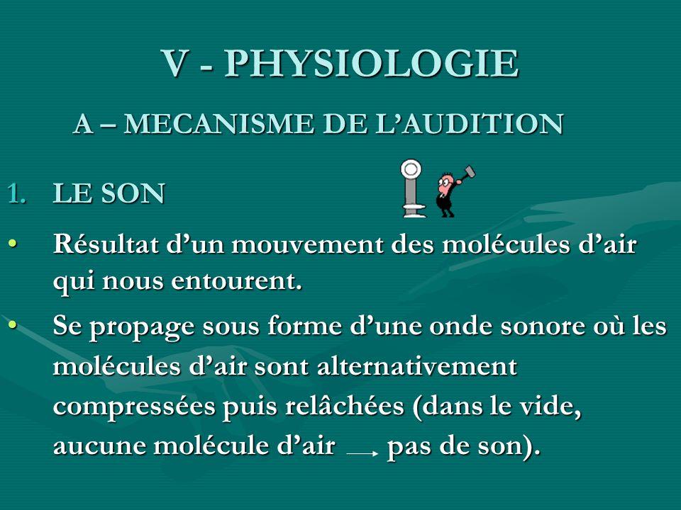 V - PHYSIOLOGIE A – MECANISME DE LAUDITION A – MECANISME DE LAUDITION 1.LE SON Résultat dun mouvement des molécules dair qui nous entourent.Résultat d