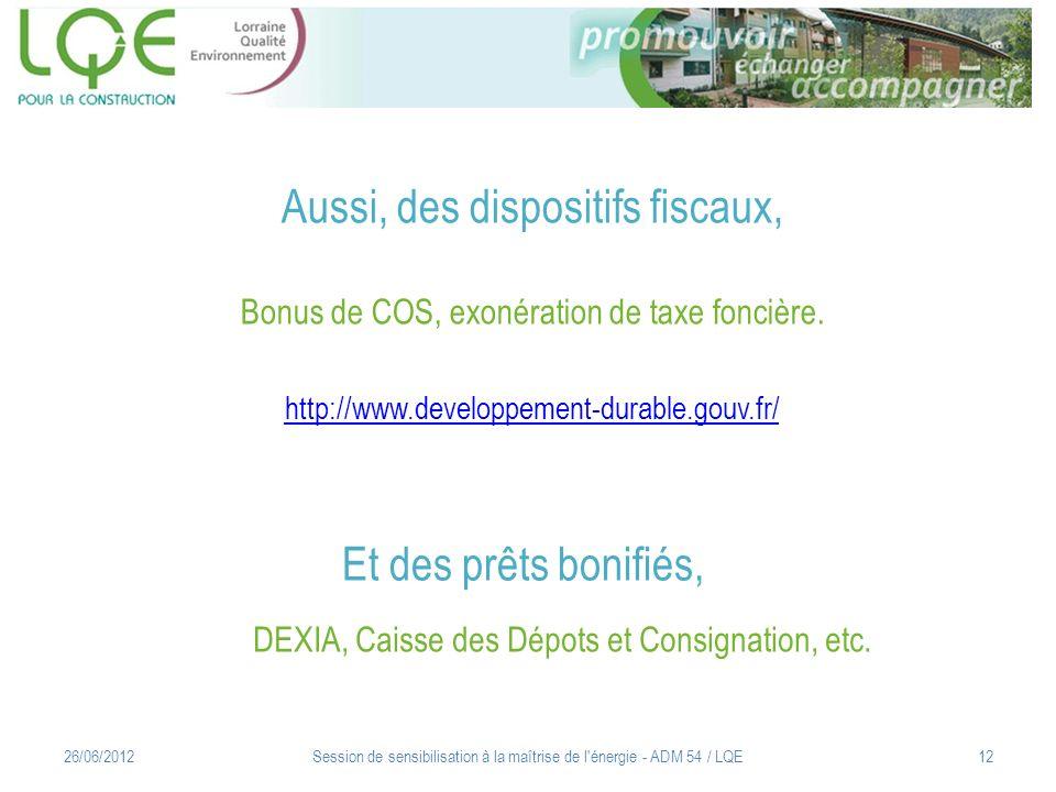Aussi, des dispositifs fiscaux, Bonus de COS, exonération de taxe foncière. http://www.developpement-durable.gouv.fr/ http://www.developpement-durable