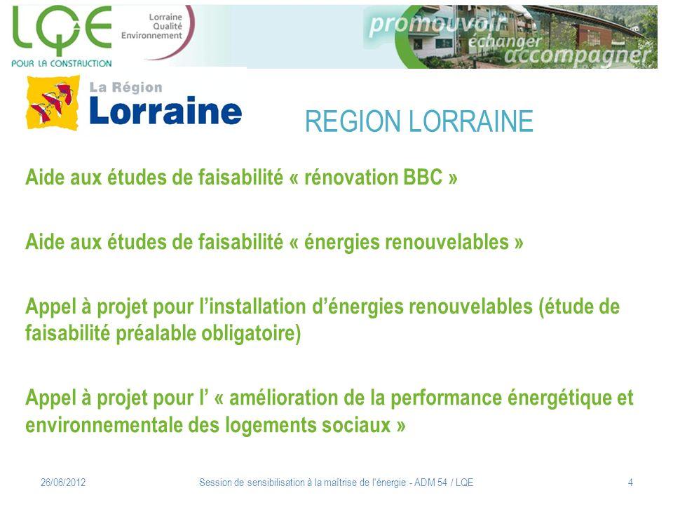 Session de sensibilisation à la maîtrise de l énergie - ADM 54 / LQE5 CONTACT : Pôle Ecologie Maitrise de lénergie : Henri SIEGENFUHR henri.siegenfuhr@lorraine.eu Energies renouvelables : David LEWANDOWSKI david.lewandowski@lorraine.eu 26/06/2012