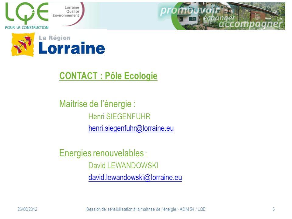 Session de sensibilisation à la maîtrise de l'énergie - ADM 54 / LQE5 CONTACT : Pôle Ecologie Maitrise de lénergie : Henri SIEGENFUHR henri.siegenfuhr