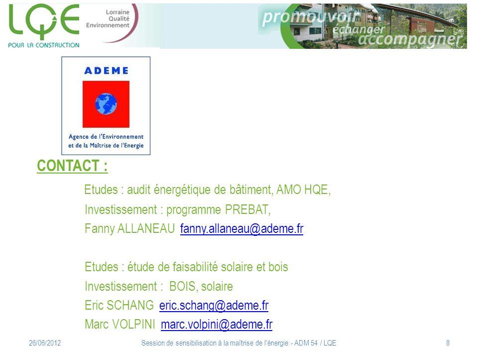 Synthèse des aides à linvestissement : ADEME / Région / FEDER 12/05/2011Session de sensibilisation à la maîtrise de l énergie - ADM 54 / LQE9