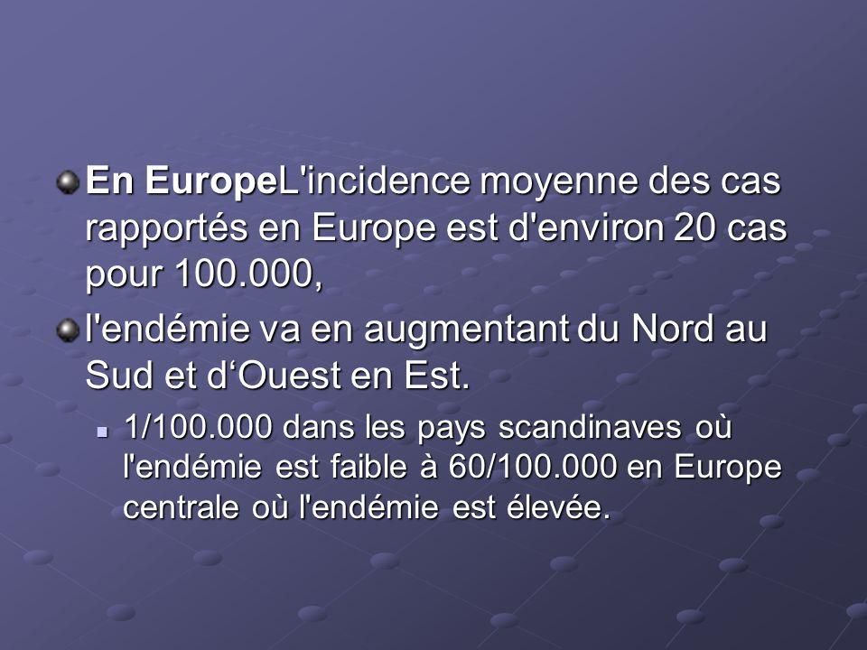 En EuropeL'incidence moyenne des cas rapportés en Europe est d'environ 20 cas pour 100.000, l'endémie va en augmentant du Nord au Sud et dOuest en Est