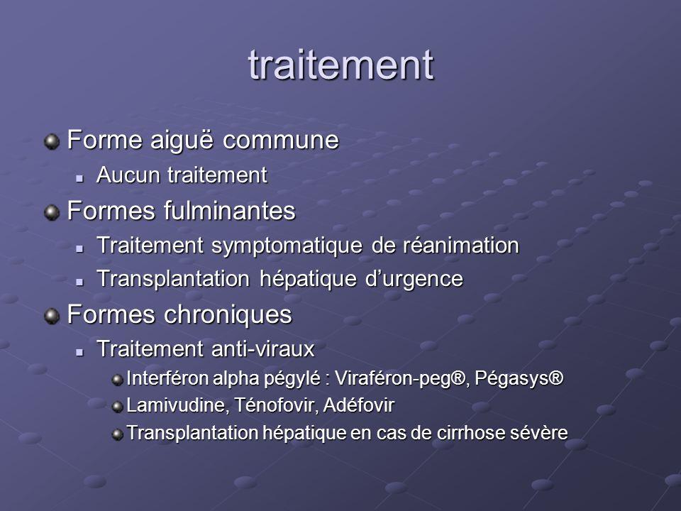 traitement Forme aiguë commune Aucun traitement Aucun traitement Formes fulminantes Traitement symptomatique de réanimation Traitement symptomatique d