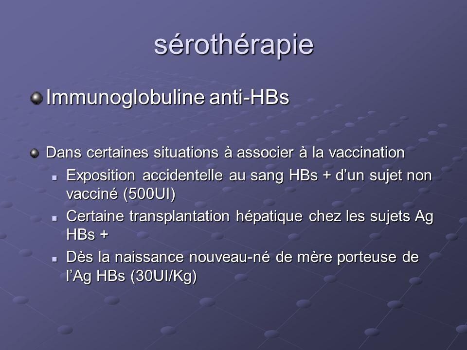 sérothérapie Immunoglobuline anti-HBs Dans certaines situations à associer à la vaccination Exposition accidentelle au sang HBs + dun sujet non vaccin
