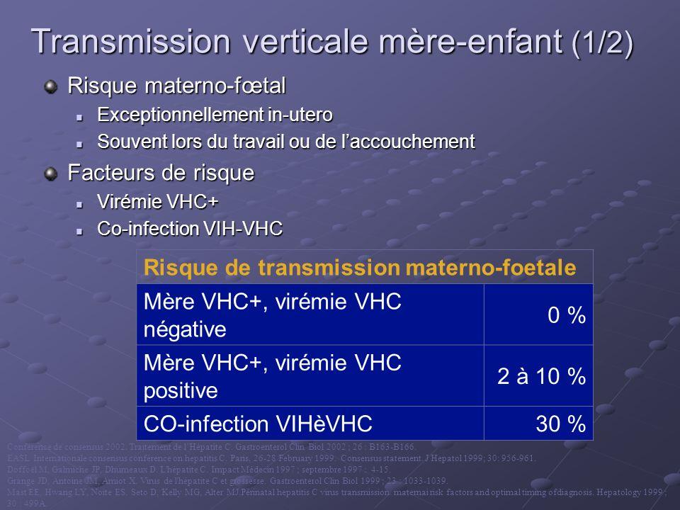 Transmission verticale mère-enfant (1/2) Risque materno-fœtal Exceptionnellement in-utero Exceptionnellement in-utero Souvent lors du travail ou de la