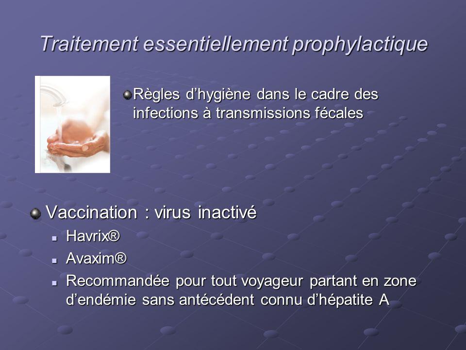 Traitement essentiellement prophylactique Règles dhygiène dans le cadre des infections à transmissions fécales Vaccination : virus inactivé Havrix® Ha