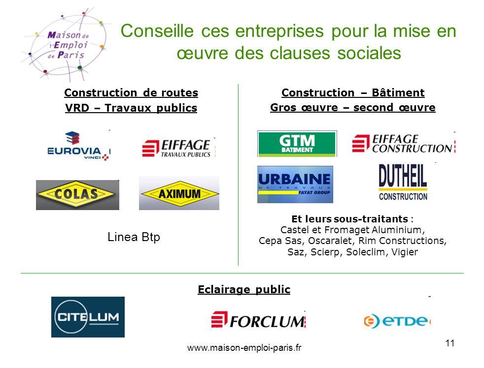 www.maison-emploi-paris.fr 11 Conseille ces entreprises pour la mise en œuvre des clauses sociales Construction de routes VRD – Travaux publics Constr