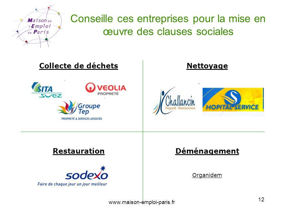 www.maison-emploi-paris.fr 12 Conseille ces entreprises pour la mise en œuvre des clauses sociales Collecte de déchetsNettoyage Déménagement Organidem