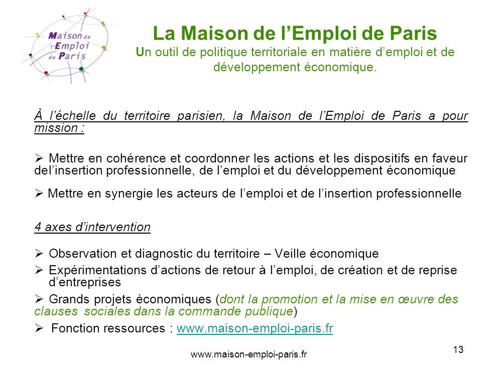 www.maison-emploi-paris.fr 13 La Maison de lEmploi de Paris Un outil de politique territoriale en matière demploi et de développement économique. À lé