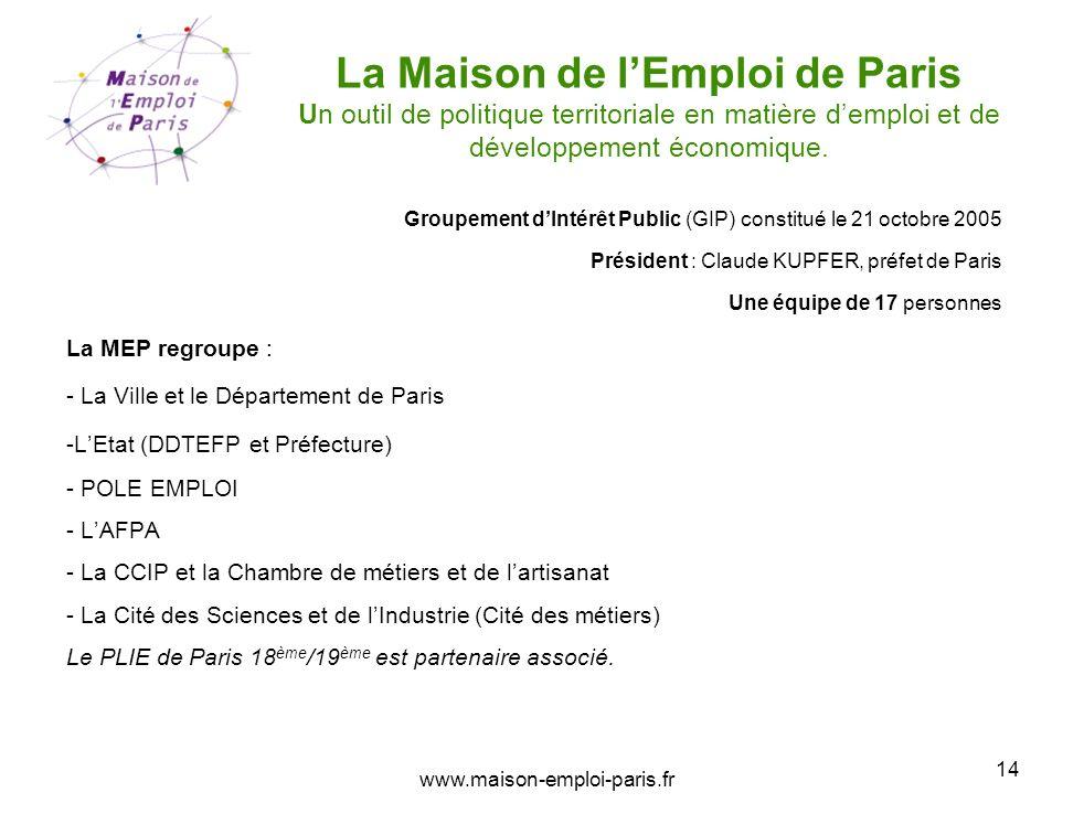 14 La Maison de lEmploi de Paris Un outil de politique territoriale en matière demploi et de développement économique. Groupement dIntérêt Public (GIP