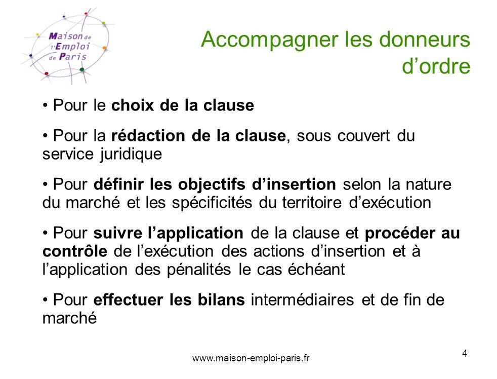 www.maison-emploi-paris.fr 4 Accompagner les donneurs dordre Pour le choix de la clause Pour la rédaction de la clause, sous couvert du service juridi
